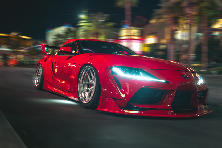Red Toyota Supra A90 Mk5 on Air Lift Performance Suspension